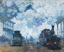 claude monet steam engine Large painting Print  90cm x 60cm vintage  art old
