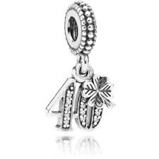 Authentic Pandora 40th Celebration Dangle Charm 791288CZ