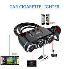 AU 3 Way 12V 24V Multi Socket Car Cigarette Lighter Splitter USB Charger Adapter