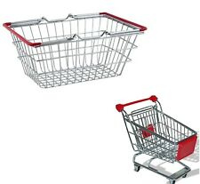 Set of Mini Shopping Trolley & Mini Basket For Kids Toy Play Accessory Holder