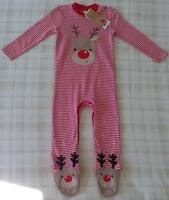 Baby Red Reindeer/Rudolf All In One Babygrow Outfit/Christmas Sleepsuit 9-12m