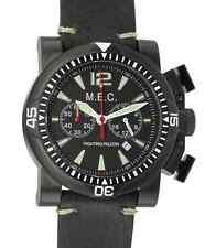 Orologio Uomo Vintage Cronografo Quarzo Acciaio Militare Subacqueo MEC Nuovo