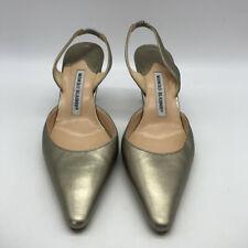 Manolo Blahnik Gold Patent Pointy Toe Size 8