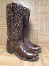 RARE🔥 FRYE Campus Tall Brown Floral Caramel Leather Boots 8 B Women's 77020 USA