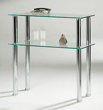 Console Hall Table Clear Glass Side Table Two Shelf Display Stand Chrome Legs