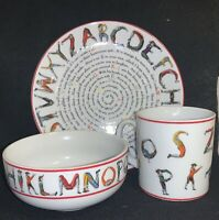 Vintage 1995 Williamsburg Hotch-Potch Alphabet Saucer Bowl And Mug Set