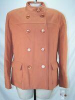 David N Orange Long Sleeve Double Breasted Peacoat Jacket Womens Size 14 Large