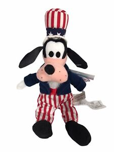 """Vintage USA 9"""" Disney Store Uncle Sam Goofy Bean Bag Beanie Soft Toy with Tags"""