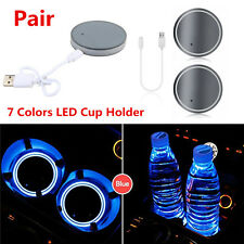 2pc 7 Color LED USB Charger Car Cup Holder Bottom Pad Light Cover IP67 Univseral