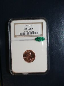 1958 D LINCOLN WHEAT CENT NGC MS66 RED CAC GEM 1C Coin PRICED TO SELL QUICKLY!