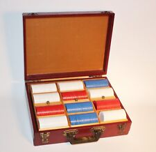 Poker Chip Set Comes with 292 Chips Case 1950's White,Red,Blue Chips Vintage