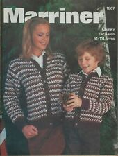 """Marriner Knitting Pattern Patterned Cardigan Family 24-44"""" Chunky 1867 Vintage"""