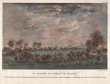 Bataille navale chez Malaga-GRAND ORIGINAL-kupferstichvon DEQUEVAUVILLER pour 1730!