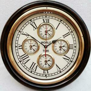 """Vintage style brass 16"""" world time antique wall decor wooden wall clock 8743"""