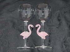 2 Yurana PINK FLAMINGO Figurine Wine Glasses Hand Made Art Glass