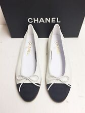 Chanel Classic CC Black White  Leather  Ballerina Ballet Flats Shoes 40 NIB