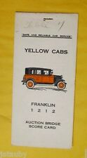 Vintage YELLOW CABS FRANKLIN 1212 AUCTION BRIDGE SCORE CARD Washington Car Taxi