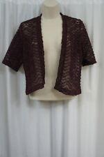 Signature by Robbie Bee Bolero Sz 4P Wine Chevron Crochet Short Sleeve Shrug