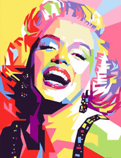 """Abstract Marilyn Monroe Colorful Art printed on canvas 22'' X 16"""" solid frame"""