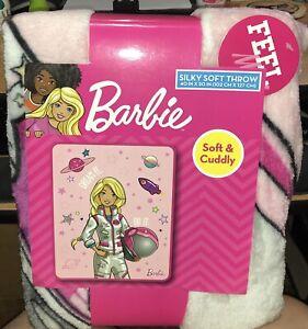 """Barbie New Dream It Do It Silky Soft Fleece Pink Throw, New,  Astronaut, 40""""x50"""""""