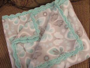 Butterflies in Turquoise, Gray & White Fleece Throw Blanket - Crochet Edge