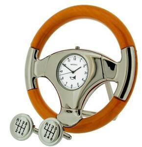 GTP Miniature Analogue Steering Wheel Cherry Wood Finish Gift Clock + Cufflinks