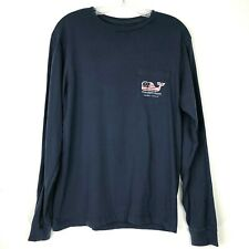 Vineyard Vines Mens Shirt size XS Navy Blue Long Sleeve Whale Flag Graphic Tee