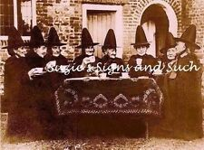 Vintage Fabric Block Witch Welsh Tea Party Photo Sepia Distressed