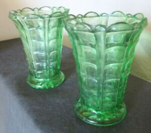 Vintage Green Glass Vases Matching Pair