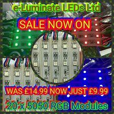 20x RGB SMD 5050 3-LED Modules Waterproof 12V Signs DIY LED Lights Sign Boards