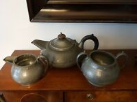 Vintage Arts & Crafts Style Craftsman Pewter Sheffield Three Piece Tea Set