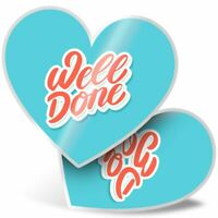 2 x Heart Stickers 10 cm - Well Done Congratulations  #14704