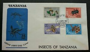 [SJ] Tanzania Insects 1987 Honey Bee Wasp Mosquito Flower (stamp FDC) *see scan