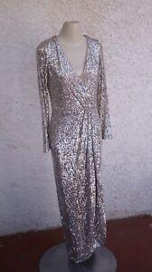 XSCAPE Long Sleeve Faux Wrap Sequin Gown $129 in Silver women's sz 10 - GUC