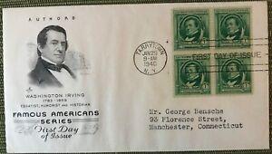 1940 Famous American Author Washington Irving FDC block of 4 M32