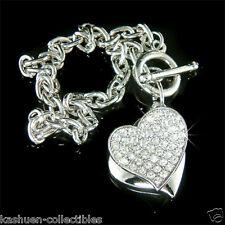 ~Love Double HEART~ made with Swarovski Crystal Valentine Charm Toggle Bracelet