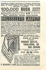 1905 F Hodgson Woodsley Road Leeds Carpets Vintage Ad
