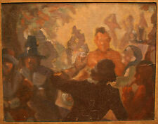 ANTIQUE AMERICAN OLD IMPRESSIONIST PAINTING INDIANS WPA ARTIST JOHN COSTIGAN NA