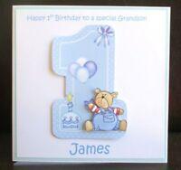 Personalised Handmade Blue One Teddy 1st Birthday Card Son Grandson Godson