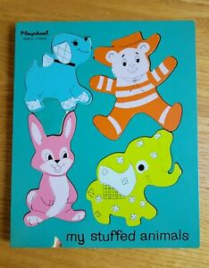 My Stuffed Animals Wood Puzzle by Playskool #155AN-15;  5 Pieces