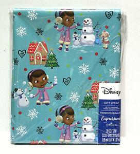 Disney Doc McStuffins Blue Christmas Wrapping Paper 20 Sq Ft Grid Back