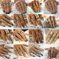 Retro 12pcs/set Silver Gold Boho Arrow Moon Flower Midi Finger Knuckle Rings