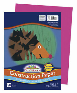 SunWorks Heavyweight Construction Paper, 9 x 12 Inches, Hot Pink, Pack of 50