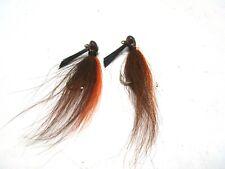 Bucktail Fishing Lure Jig Lot Of 2 Weedless Hook Brown 1/2 oz Each