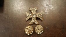 Vintage Bsk Yellow Maltese Pin Clip On Earrings Designer Free Shipping