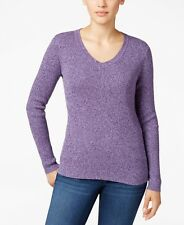 $175 KAREN SCOTT Womens PURPLE SWEATSHIRT V NECK PULLOVER LONG SLEEVE SWEATER M
