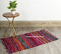 "100% Cotton Handmade Unique Chindi Indian Fringed Cotton Floor Rug Mat 2X3"" ft"