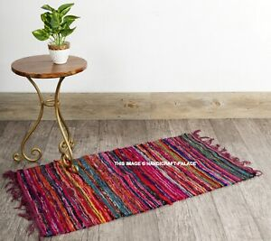 """100% Cotton Handmade Unique Chindi Indian Fringed Cotton Floor Rug Mat 2X3"""" ft"""