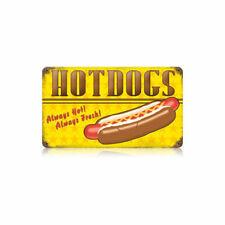 Vintage Style Metal Sign Retro Kitchen Pub Hot Dogs Always Hot 14 x 8