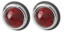 2x Positionsleuchte Chromring 12V&24V Leuchte für Oldtimer Traktor rot